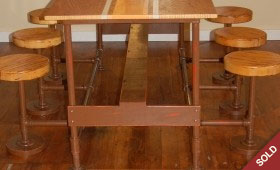 Vintage Cafeteria Table with Tilting Stools