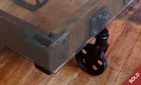 Glass Top Industrial Cart Coffee Table