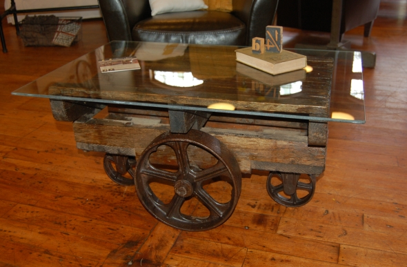 Industrial Barrel Cart Coffee Table