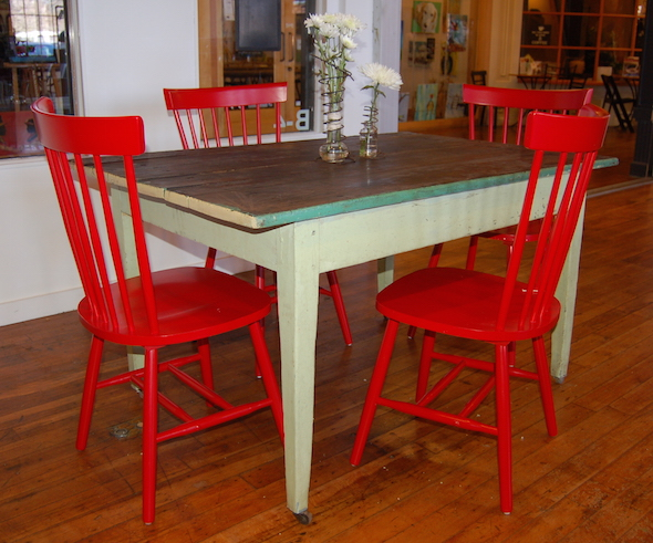 Yellow chair market farm table red chairs for Yellow farmhouse table