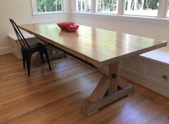Custom Farm Table With Iron Pipe Brace