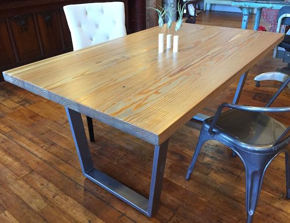 reclaimed wood and metal base table custom work furniture reclaimed ...